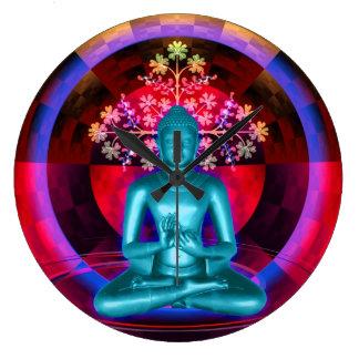 Reloj de pared azul Meditating de Buda