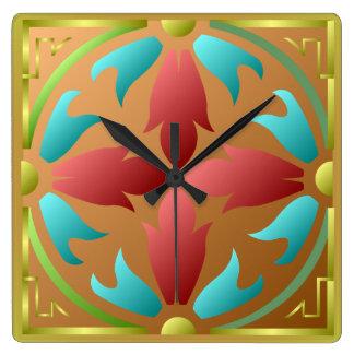 Reloj de pared azul rojo del estampado de flores d
