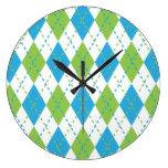 Reloj de pared azul y verde de Argyle