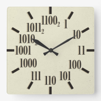 Reloj de pared binario, cuadrado