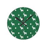 Reloj de pared blanco de los renos