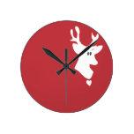 Reloj de pared blanco del reno
