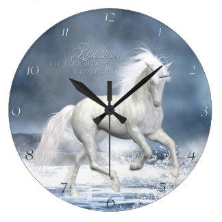 Reloj de pared blanco del unicornio