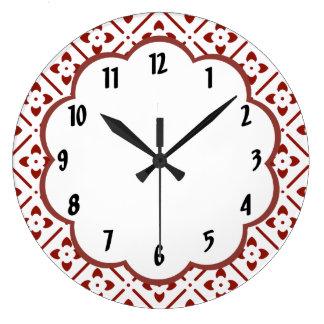 Reloj de pared blanco marrón del estampado de
