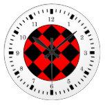 Reloj de pared blanco rojo negro del tema que comp