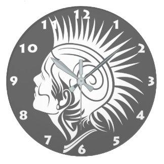 Reloj de pared (BLANCO Y NEGRO) PUNKY TRIBAL del