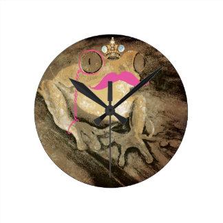 Reloj de pared bling del bigote divertido retro