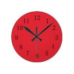 Reloj de pared brillante de la cocina del rojo de
