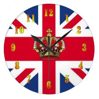 Reloj de pared BRITÁNICO de la corona de la reina
