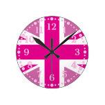 Reloj de pared BRITÁNICO rosado de la bandera de U