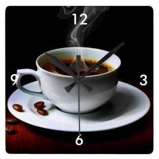 Reloj de pared/café y granos de café cuadrados