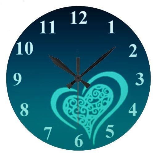 Reloj de pared caprichoso del corazón grande