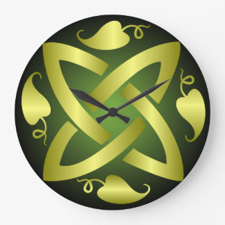 Reloj de pared céltico verde del nudo del oro