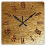 Reloj de pared cepillado de la Metal-mirada del or