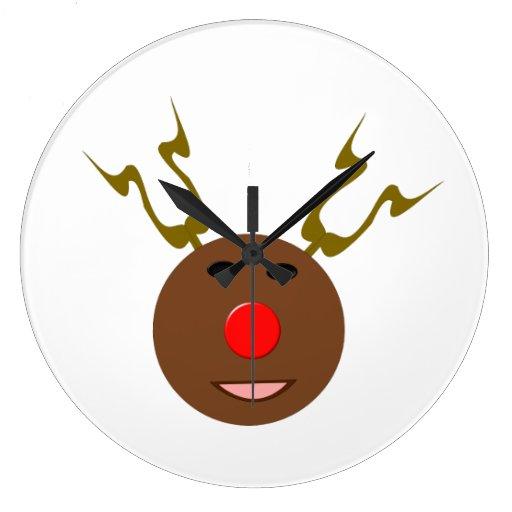 Reloj de pared cibernético del reno del navidad