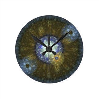 Reloj de pared circular del fractal terroso