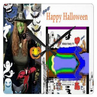 Reloj de pared cobrable de la bruja de Halloween
