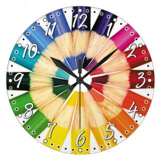 Reloj de pared coloreado colorido del artista del