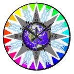 Reloj de pared colorido de la tierra del compás