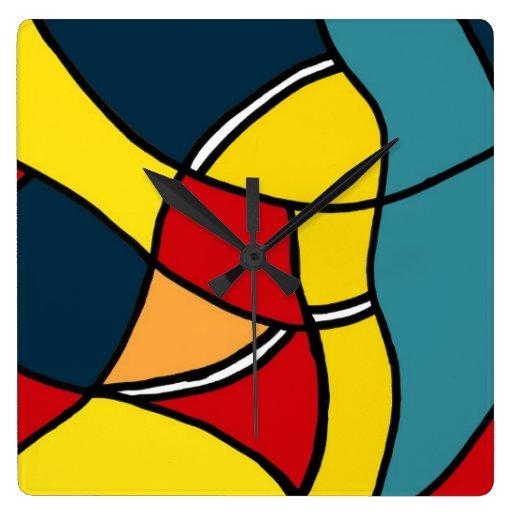 Reloj de pared colorido de las formas