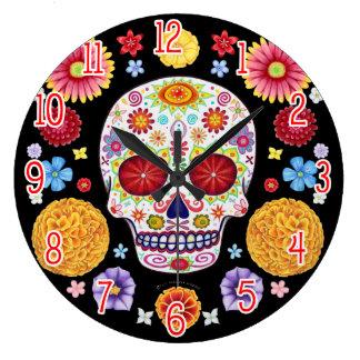 Reloj de pared colorido del cráneo del azúcar -