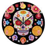 Reloj de pared colorido del cráneo del azúcar - dí