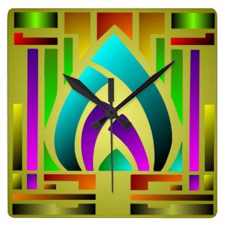 Reloj de pared colorido del cuadrado del art déco