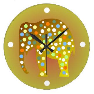 Reloj de pared colorido del elefante del lunar