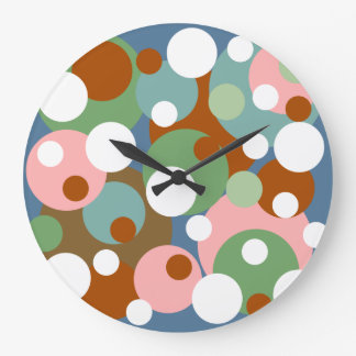 Reloj de pared colorido grande del lunar