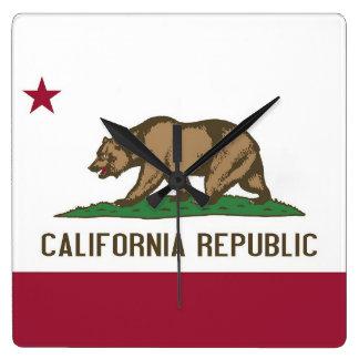 Reloj de pared con la bandera de California, los