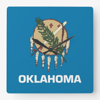 Reloj de pared con la bandera de Oklahoma los E E