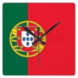 Reloj de pared con la bandera de Portugal