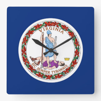 Reloj de pared con la bandera de Virginia, los