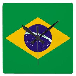 Reloj de pared con la bandera del Brasil