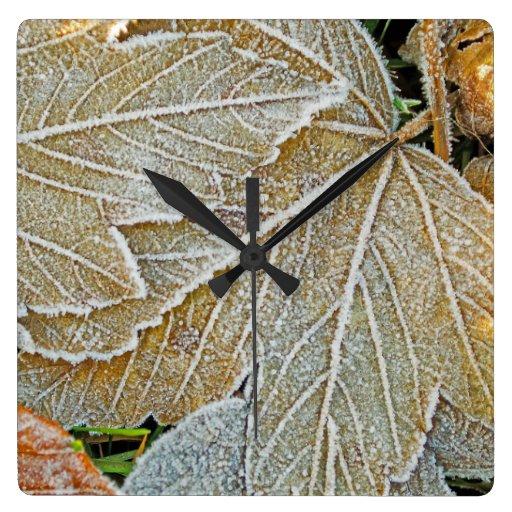 Reloj de pared congelado de las hojas