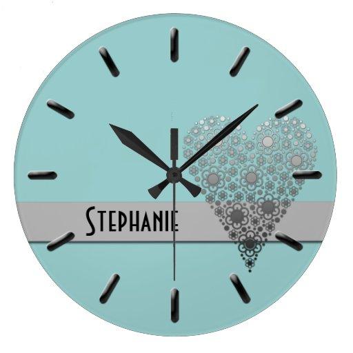 Reloj de pared conocido de encargo lindo del coraz