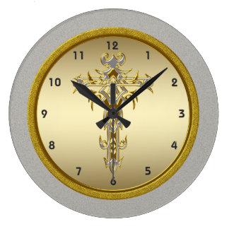 Reloj de pared cruzado religioso