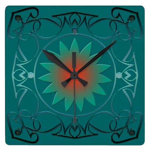Reloj de pared cuadrado afiligranado