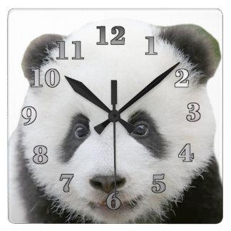 Reloj de pared cuadrado de la panda