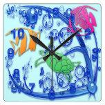 Reloj de pared cuadrado de la vida marina