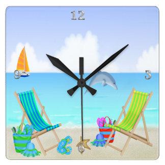 Reloj de pared cuadrado de relajación de la playa