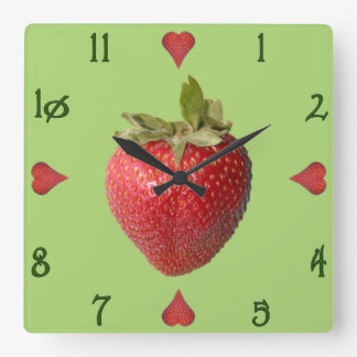 Reloj de pared cuadrado de Stawberries