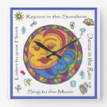 Reloj de pared cuadrado de Sun y de la luna