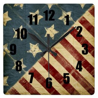 Reloj de pared cuadrado decorativo de la bandera a