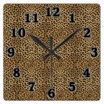 Reloj de pared cuadrado del estampado leopardo