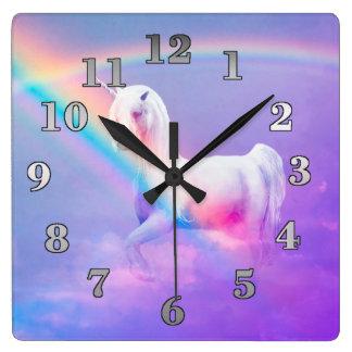 Reloj de pared cuadrado del unicornio