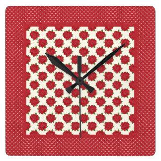Reloj de pared cuadrado elegante: Rosas de color r