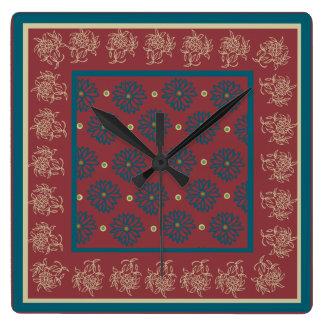 Reloj de pared cuadrado, marrón, floral azul