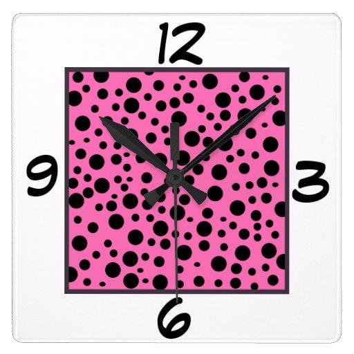 Reloj de pared cuadrado negro y rosado de los luna