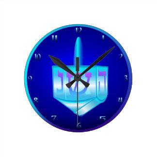 Reloj de pared de cristal azul de Dreidel